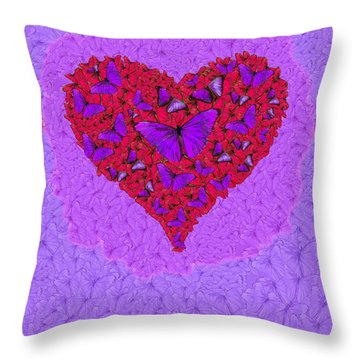 Butterfly Heart Throw Pillow by Alixandra Mullins