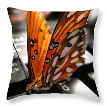 Throw Pillow featuring the photograph Butterfly Home At 7 by Jennie Breeze