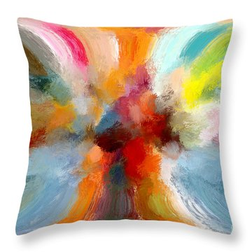 Butterfly In Abstract Throw Pillow