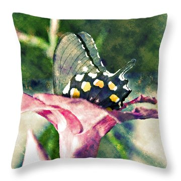 Throw Pillow featuring the photograph Butterfly In Flower by Susan Leggett
