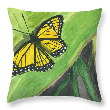 Throw Pillow featuring the painting Butterfly In Vermont Corn Field by Donna Walsh