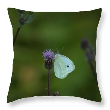 Butterfly In White 2 Throw Pillow