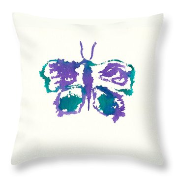 Throw Pillow featuring the painting Butterfly Inkblot by Frank Bright