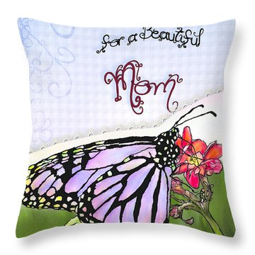 Butterfly Kisses Throw Pillow by Susan Kinney
