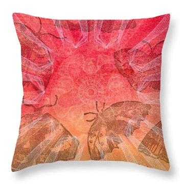 Throw Pillow featuring the digital art Butterfly Letterpress Watercolor by Kyle Hanson