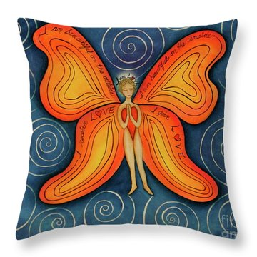 Butterfly Mantra Throw Pillow by Deborha Kerr