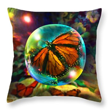 Throw Pillow featuring the painting Butterfly Monarchy by Robin Moline