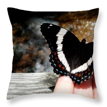 Butterfly On Fingertips Throw Pillow