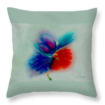 Throw Pillow featuring the digital art Butterfly On Flower Mixed Media by Frank Bright