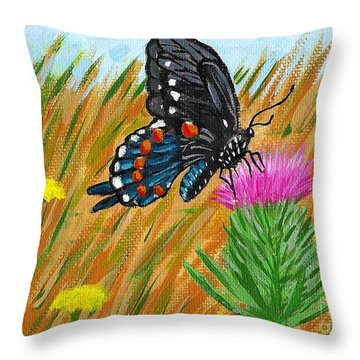 Butterfly On Thistle Throw Pillow by Vicki Maheu