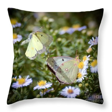 Throw Pillow featuring the photograph Butterfly Moments  by Kerri Farley