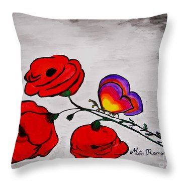 Butterfly Poppies Throw Pillow by Ramona Matei