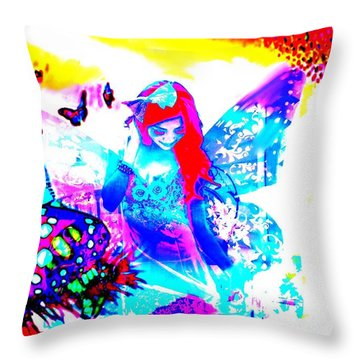 Throw Pillow featuring the digital art Butterfly Princess by Diana Riukas