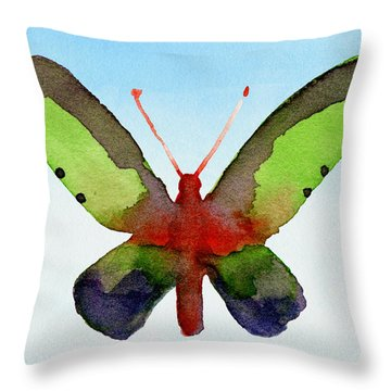 Butterfly Purple And Green Watercolor Art Print Throw Pillow
