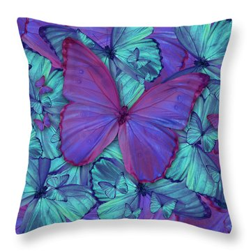 Butterfly Radial Violetmorpheus Throw Pillow by Alixandra Mullins