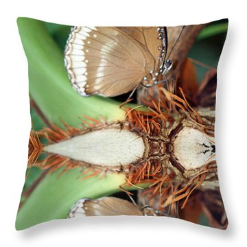Butterfly Reflection Throw Pillow by Karen Adams