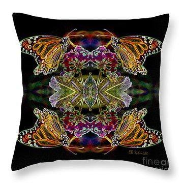 Throw Pillow featuring the digital art Butterfly Reflections 02 - Monarch by E B Schmidt