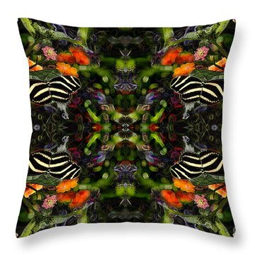 Throw Pillow featuring the digital art Butterfly Reflections 03 - Zebra Heliconian by E B Schmidt