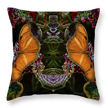 Throw Pillow featuring the digital art Butterfly Reflections 04 - Julia Heliconian by E B Schmidt