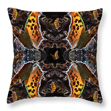 Throw Pillow featuring the digital art Butterfly Reflections 05 - Eastern Comma by E B Schmidt