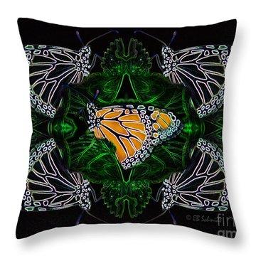 Throw Pillow featuring the digital art Butterfly Reflections 07 - Monarch by E B Schmidt