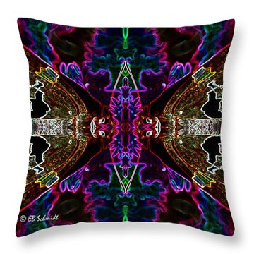 Throw Pillow featuring the digital art Butterfly Reflections 08 - Silver Spotted Skipper Reflections by E B Schmidt
