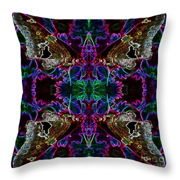 Throw Pillow featuring the digital art Butterfly Reflections 09 - Silver Spotted Skipper Reflections by E B Schmidt