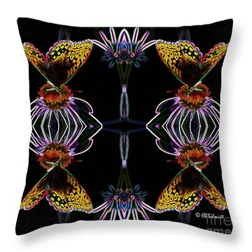 Throw Pillow featuring the digital art Butterfly Reflections 10  - Great Spangled Fritillary by E B Schmidt
