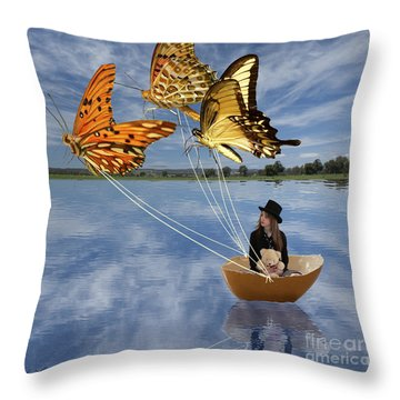 Butterfly Sailing Throw Pillow by Linda Lees