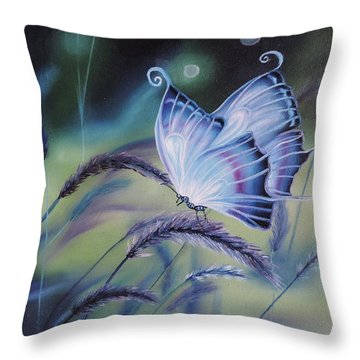 Throw Pillow featuring the painting Butterfly Series #3 by Dianna Lewis