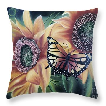 Throw Pillow featuring the painting Butterfly Series 5 by Dianna Lewis