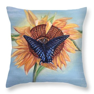 Butterfly Sunday In The Summer Throw Pillow