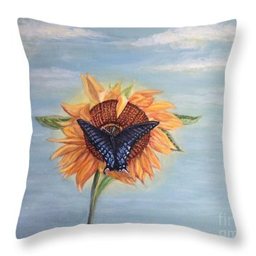 Butterfly Sunday Full Length Version Throw Pillow