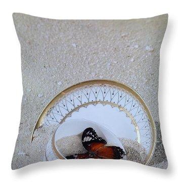 Butterfly Teacups On The Beach Throw Pillow