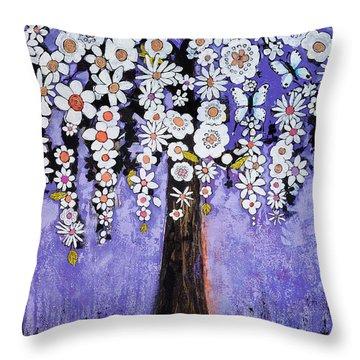 Butterfly Tree Throw Pillow by Blenda Studio