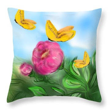 Throw Pillow featuring the digital art Butterfly Triplets by Christine Fournier