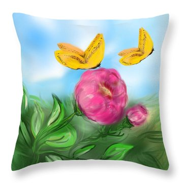 Throw Pillow featuring the digital art Butterfly Twins by Christine Fournier