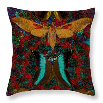Solar Butterfly Throw Pillow by Joseph Mosley