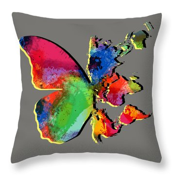 Butterfly World Map 2 Throw Pillow by Mark Ashkenazi