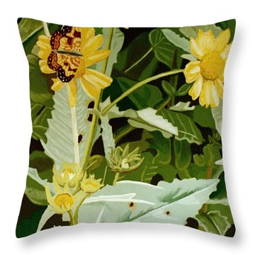 Butterfly Yellow  Throw Pillow by Tanya Provines