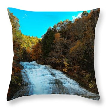 Throw Pillow featuring the photograph Buttermilk Falls Ithaca New York by Paul Ge