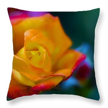 Butterscotch Rose Throw Pillow