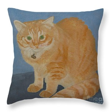 Butterscotch The Cat Throw Pillow by Mini Arora