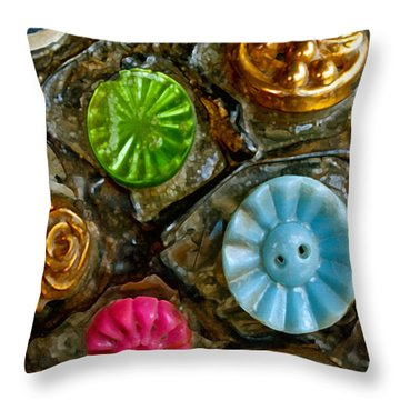 Button Biographies Throw Pillow by Gwyn Newcombe