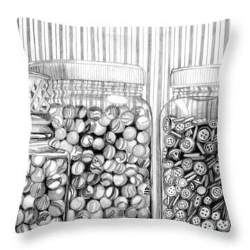 Throw Pillow featuring the drawing Buttons And Stripes by Mary Bedy