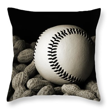 Buy Me Some Peanuts - Baseball - Nuts - Snack - Sport - B W Throw Pillow by Andee Design