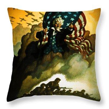 Buy War Bonds Throw Pillow by Robert Geary