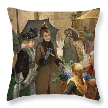 Buying Flowers, 19th Century Throw Pillow