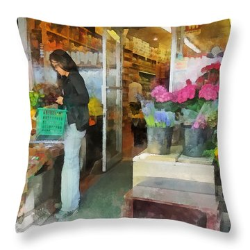 Buying Fresh Fruit Throw Pillow by Susan Savad