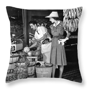 Buying Fruit And Vegetables Throw Pillow by Underwood Archives